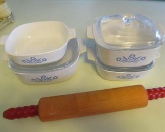 Set of four with three lids, 50s rolling pin