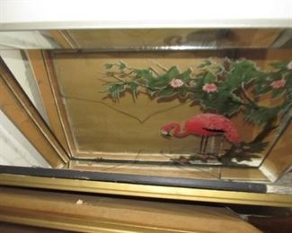 Flamingo mirror was stacked in a large group of pictures. Condition is very good.