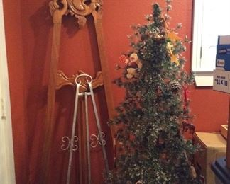 Easels and Christmas trees