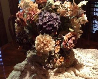 Bouquet in Swan Planter