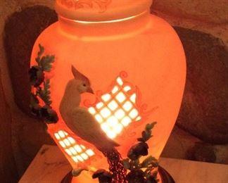 Lamp with Peacock Motif