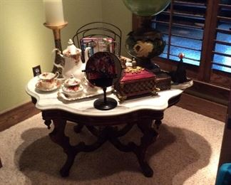 VICTORIAN style table with marble top