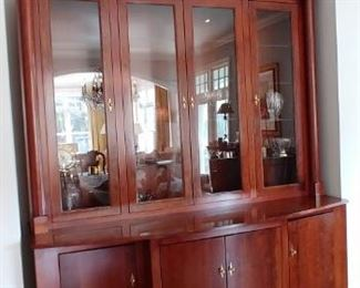 $500 Hand crafted 2 piece hardwood china cabinet