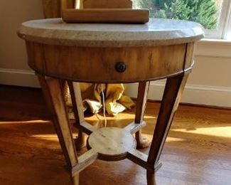 $500 for pair Kreiss Collection pair of Travertine top end tables with bear feet