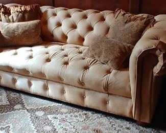 $900 Handmade Valentino deep tufted sofa, nubuck leather  Rug not for sale.