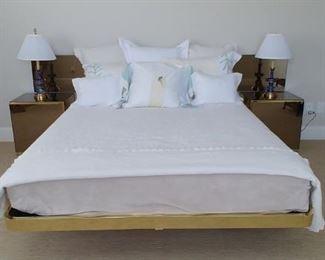 $250 Ello mirror and brass platform bed