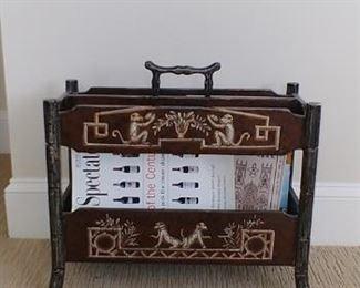 Bamboo monkey motif magazine holder from Colony Furniture
