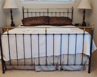 $600 Newfield wrought iron and antique brass California king size bed by Charles Rogers
