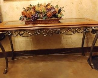 $150 Wood, metal and glass console table with hoof feet