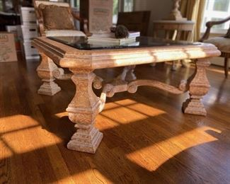 """$400 Kreiss Neoclassical coffee table crackle finish with 1.25"""" beveled lead glass."""
