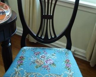 Needlepoint  chair-part  of  dining room  set