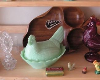 Blair's monkey pod, jadite hen on nest, ruby rooster, perfume bottle, Acoma, Princess House candle holders