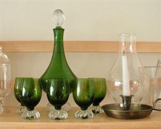 Princess House items, MCM Venetian decanter & glasses
