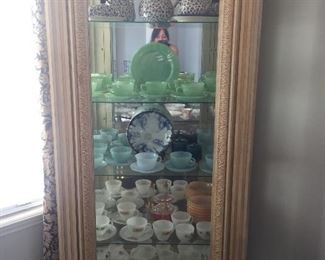 Curio cabinet ladies with vintage fire king