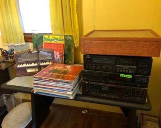 Turntable, Speakers, Albums, Vintage Emenee 1950's Electric Golden Pipe Organ Toy Model