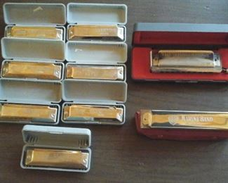 The Chromonica made by M. Horner Germany, Marine Band harmonica by M. Horner and 7 Huang Silvertone Deluxe harmonicas