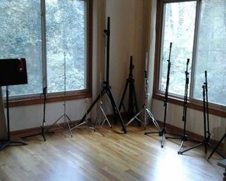 music stand and  microphone stands