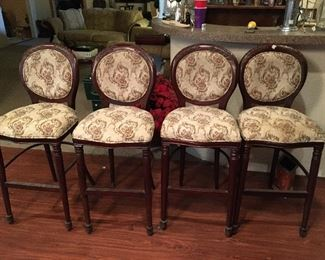 "Set of 2 Barstools. Each chair measures 29"" tall to seat, 44"" tall to back x 17"" across x 18"" wide."
