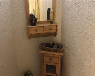 "Small Bathroom Mirror & Table Set Shelf measures 33"" tall x 13 1/2"" wide x 12 1/2"" deep. Mirror measures 32 1/2"" tall x 20 1/2"" wide x 6"" deep."