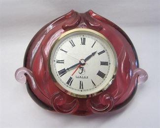 Fenton pink glass clock