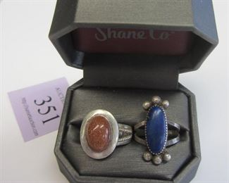 Two Sterling rings with lapis and gold stone