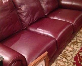 Three-cushion leather sofa