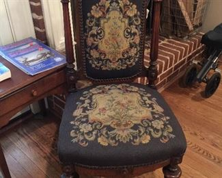 Mid 1800s needlepoint chair