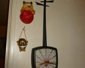 Guitar clock, string holder,brass wall decor