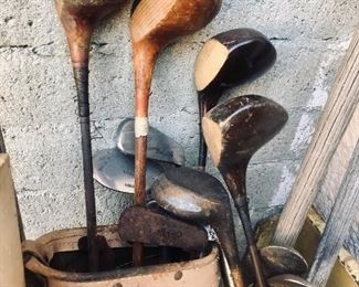 Antique wood golf clubs