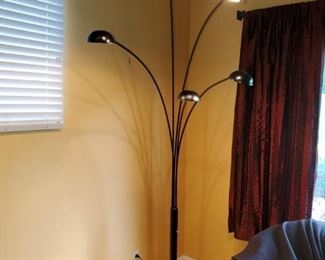 """Multi light floor lamp by Kenroy International 81"""" tall 5 lamps that can be all on, or just a few on. Halogen bulbs, with swivel heads Grey marble stand. $50"""