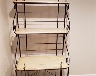 "4 shelf metal Bakers Rack Excellent condition Wooden shelves 73"" tall Shelves are 29.5"" wide Shelf depth: Height from the floor: Shelf 1: 15"" 4"" (bottom shelf) Shelf 1: 15"" 24"" Shelf 1: 11"" 44"" Shelf 1: 8.5"" 60"" (top shelf) $150"