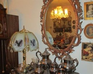 mirror, lamp, silver plate tea set & small pictures