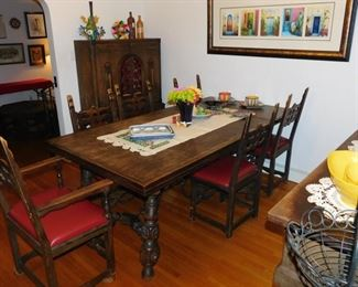 antique dining set with matching hutch, side board and side table