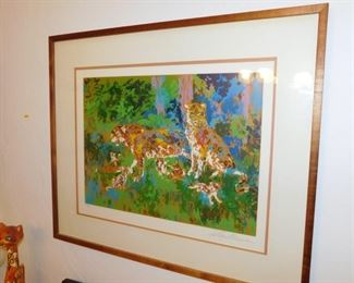 "pencil signed Leroy Neiman serigraph limited edition ""Jaguar Family"""