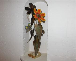 Curtis Jere signed metal flower sculpture
