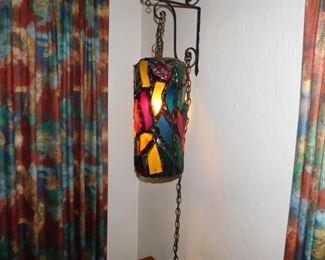 vintage multi color glass swag lamp