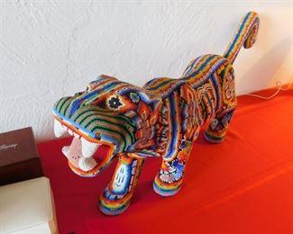 Huichol Beaded Jaguar