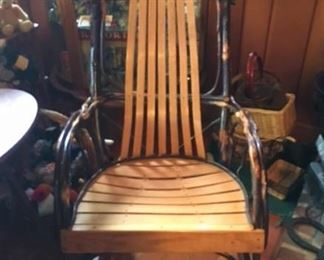7 Slat Hickory rustic rocking chair