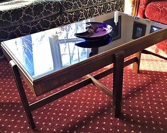 Art Deco blue cobalt mirror coffee table