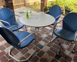 CT0071-: Vintage Metal Patio Furniture Table and Chairs Blue and White Local Pic  https://www.ebay.com/itm/113965616873