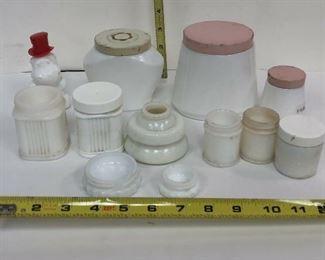 LAN586: 12 Vintage Milk Glass Jars Local Pickup  https://www.ebay.com/itm/123938908716