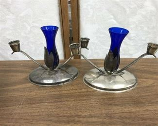 LAN734: Mid-Century Modern Blue Glass and Silver Plate Candle Sticks  https://www.ebay.com/itm/123993133272