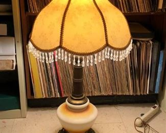 LAN740: Hand painted vintage glass and brass lamp   - Only available offline at office