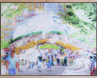 ML3035 Conner McManus Art: Chicago Bean 18″x 24″ Giclee and Acrylic on Birch  https://www.ebay.com/itm/113966071526