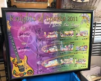 """""""Knights of Sparta 2011 New Orleans Mardi Gras Float Bulletin Framed Signed and Numbered Local Picku"""