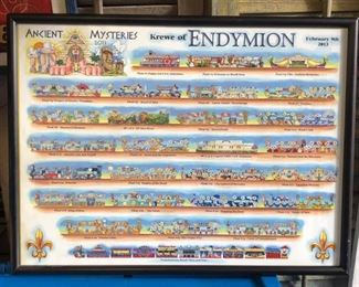 Kewe of Endymion 2013 Framed New Orleans Mardi Gras Float Bulletin Local Pickup  - Only available offline at office
