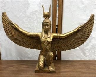"""SM3013: EGYPTIAN ISIS ANCIENT EGYPT EGYPTIAN OPEN 23"""" WINGS FIGURINE SCULPTURE STATUE $75   - Only available offline at office"""