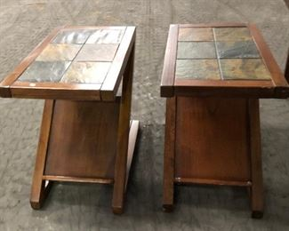 SP1559: (2) Z Shaped End Tables brown and tile Local Pickup (Both $50)  https://www.ebay.com/itm/123936428703
