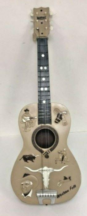 WY3013: VINTAGE 1950s PLASTIC CHILD'S GUITAR WESTERN FOLK 32 IN NEEDS STRINGS  https://www.ebay.com/itm/113936589076