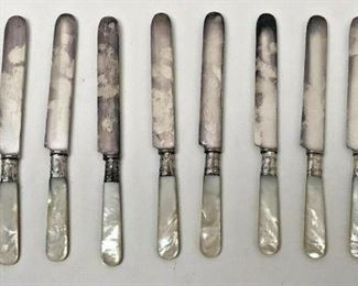 SM012: SET OF 10 BUTTER KNIVES STERLING SILVER AND MOTHER OF PEARL FROM NOLA   https://www.ebay.com/itm/123952007905